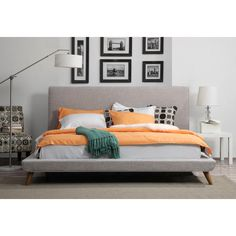 Johnson Mid Century Full Linen Bed from EMFURN
