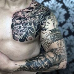 Mens Masculine Full Sleeve And Chest Samurai Mask And Dragon Tattoo