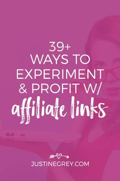 Using affiliate links is a fun way to monetize your content. Get started with my free guide, 39 smart ways to experiment and profit with affiliate links! Marketing Guru, Affiliate Marketing, Internet Marketing, Digital Marketing, Content Marketing, Business Tips, Online Business, Program Management, Blogging For Beginners