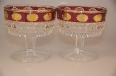 Italian glass ruby overlay with gold flowers by TheVintageBoomer
