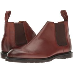 Dr. Martens Wilde Low Chelsea Boot (Oak Temperley) Men's Pull-on Boots ($73) ❤ liked on Polyvore featuring men's fashion, men's shoes and men's boots