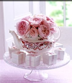 Teapot centerpiece sip and see baby shower