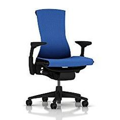 Embody Chair by Herman Miller - Home Office Desk Task Chair with Adjustable Arms - Graphite Frame Rhythm Blue Fabric Cheap Office Chairs, Best Office Chair, Desk Office, Office Decor, Ergonomic Computer Chair, Ergonomic Chair, Herman Miller, Work Chair, Hard Floor