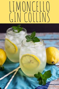 Limoncello Gin Collins Cocktail Recipe - A Nerd Cooks - - This Limoncello Gin Collins is fizzy and refreshing, with a prominent lemon flavor. Minty simple syrup balances the lemon tartness. Limoncello Cocktails, Gin Cocktail Recipes, Alcohol Drink Recipes, Summer Cocktails, Cocktail Drinks, Fun Drinks, Alcoholic Drinks, Beverages, Gin Recipes Food