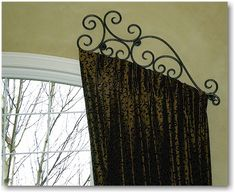 Images of Custom rod iron header for drapes family-room custom drapery rods Arched Window Treatments, Arched Windows, House Windows, Window Coverings, Decorative Curtain Rods, Finials For Curtain Rods, Drapery Rods, Curtain Rails, Drapery Fabric