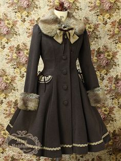 gothic custom~made lolita coat kawaii free SH enghanting Adorable refined Kawaii Fashion, Lolita Fashion, Cute Fashion, Asian Fashion, Fashion Outfits, Estilo Lolita, Cute Dresses, Vintage Dresses, Vintage Outfits