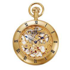 Gotham Men's Gold-Tone 17 Jewel Mechanical Exhibition Roman Bezel Pocket Watch # Mechanical Pocket Watch, Quartz Pocket Watch, Grandfather Clock, Watch Companies, Casual Watches, Jewels, Pendant Watch, Roman, Gold