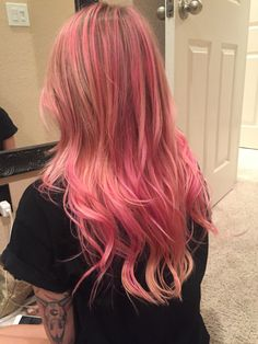 Pink hair Balayage Peach hair