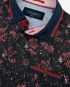 Tropical leaf print polo shirt - Dark Red   Tops & T-shirts   Ted Baker