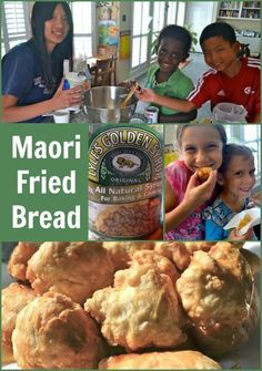 Maori Fried Bread Easy Recipe (New Zealand!)- International Bread Day at school! Or International pot-luck. Who doesn't love fried dough with sugar? Easy Meals For Kids, Kids Meals, Easy Dinners, Fried Bread Recipe, Bread Recipes, Copycat Recipes, Waitangi Day, Kiwi Recipes, Vegan Recipes