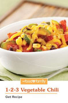 This recipe is as easy as 1-2-3! Cozy up with a bowl of this Healthy Living 1-2-3 Vegetable Chili, prepared with black beans, corn, zucchini, and TACO BELL® Thick & Chunky Salsa. Make it super creamy with KRAFT 2% Milk Shredded Milk Cheddar Cheese. This dish is great to whip up in only 25 minutes on a cold day!
