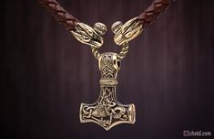 Image of THOR'S HAMMER : MJOLNIR - Leather Necklace With Bronze Wolf Heads - HANDMADE