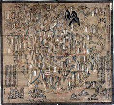 筒井順昭「天竺絵図」     手書・手彩色。133×123 cm。Japanese Mappa Mundi 1364. Image of the world showing the theory (倶舎)  that influenced the world of a Medieval Japanese Buddhism.