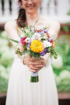 Wildflower bridal bouquet. Organic flowers from Michigan Flower Farm.