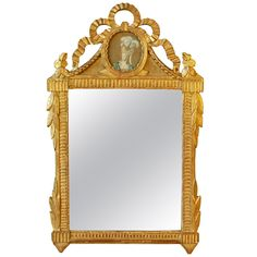 Louis XVI Period Gilt-Wood Mirror with Marie Antoinette | From a unique collection of antique and modern wall mirrors at http://www.1stdibs.com/furniture/mirrors/wall-mirrors/
