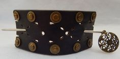 Brown Studded Leather Barrette w/ Silver Hair Stick New Fashion Accessoires  #Handmade