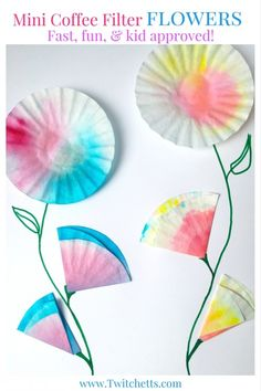 These mini coffee filter flowers are the perfect kids craft. Create water color flowers for a card for Mother's Day or a special Birthday Card.
