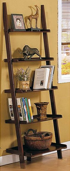 Tips for decorating a tiered bookshelf....