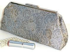 Framed Clutch Purse in Silver Gray Floral Rose by nangatesdesigns, $38.00