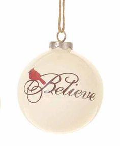 Glass Cardinal Tree Ornament, Believe