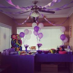 My daughters purple party, birthday decor, tween party