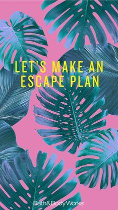 """""""Let's Make an Escape Plan"""" Palm Leaf iPhone Wallpaper"""