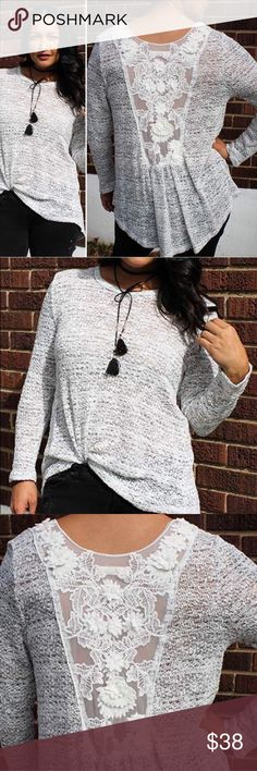 FINAL PRICE Lace Back Knitted Top Heather gray top has room to move! True to size but has a nice flowiness! Sheer lace insert on back. PRICE FIRM. No trades. Sweaters Crew & Scoop Necks