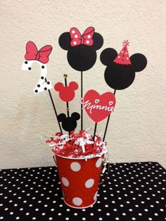 Minnie Mouse Birthday Decoration Centerpieces Baby shower - Rock Baby Names - Ideas of Rock Baby Names - Minnie Mouse Birthday Decoration Centerpieces by TheGirlNXTdoor Minnie Mouse Party, Minnie Mouse Birthday Decorations, Mickey Party, Mickey Mouse Birthday, Mouse Parties, 2nd Birthday, Disney Parties, Pink Centerpieces, Birthday Centerpieces