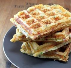 Bacon Cheddar Chive Waffles by whit's amuse bouche Bacon Waffles, Savory Waffles, Breakfast Waffles, Pancakes And Waffles, Breakfast Recipes, Breakfast Ideas, Cornbread Waffles, Waffle Maker Recipes, Food To Make