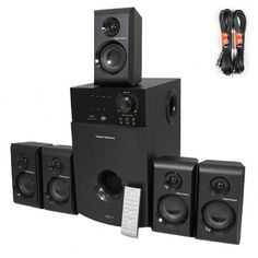5.1 Home Theater Speaker System with Tuner and Two 25' Extension Cables TS514-2 by Theater Solutions. $109.99. SpecificationsNew 5.1 / 2.1 Switchable Home Theater Multimedia Speaker SystemPower Rating: 600 Watts RMS System PowerBuilt in TunerFrequency Response: 40Hz - 20KHzDistinctive Design: Features high tech design to dampen distortion and deliver crisp clear responseAdditional Features: Pro Logic function for incredible Surround Sound, Stand By function, Infa-red remo...
