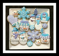 snowman sugar cookie based on you tube video by Montreal Confections 2013 love her channel trees are inspired by Lizy B