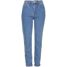 TOPSHOP MOTO Vintage Mom Jeans ($70) ❤ liked on Polyvore featuring jeans, pants, bottoms, trousers, mid stone, blue high waisted jeans, vintage skinny jeans, tapered fit jeans, high-waisted skinny jeans and topshop jeans