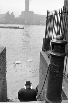 Henri Cartier-Bresson - GB. London. 1955. Bankside Power Station on the south bank of the Thames (Tate Modern since 2000).