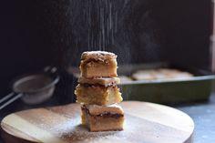 Cinnamon apple slice with rosemary icing sugar