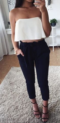 summer outfits  White Off The Shoulder Crop + Black Pants