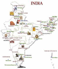 Get info on the travel places in India with a useful map. India Tourist Map showing All the Important Tourist Centres in India Tourist Map, Tourist Places, Travel Maps, India Travel, Travel Destinations, Taj Mahal, Geography Map, India Map, Visit India