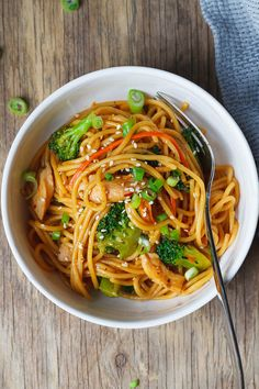 Chicken Stir Fry Noodles – Flavor overload! Make your own take-out at home with this super easy chicken recipe.