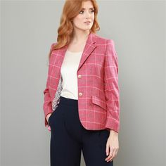 A seasonal pink and blue Alicia windowpane checked Donegal tweed jacket, this beautiful fabric is designed and woven in our mill in Donegal, Ireland. A must-have jacket for your Spring/Summer wardrobe.