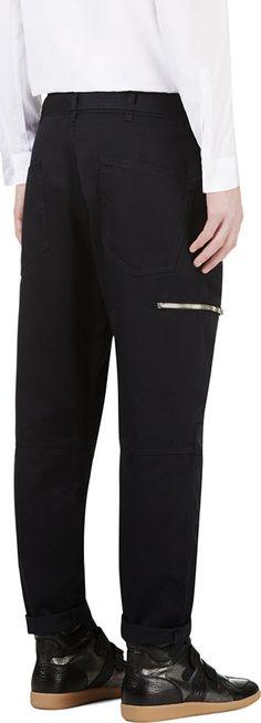 Balmain: Navy Zippered Biker Trousers