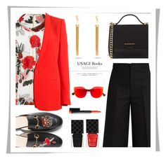 """Something Red"" by rasa-j ❤ liked on Polyvore featuring Ganni, STELLA McCARTNEY, Gucci, Givenchy, Isabel Marant, Usagi, RetroSuperFuture, Yves Saint Laurent, womensFashion and somethingred"
