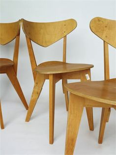 Very rare set of 4 1950s Dutch plywood chairs. Designed by 'Group &'. Distributed by Goed Wonen as model BN1 until 1955. Status: Sold by merzbau