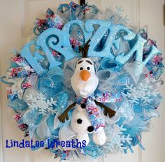 Disney Frozen Wreath, Deco Mesh Wreath, Olaf, Girls Room Decor, Anna, Elsa and Olaf Ribbon, Enchanting, Whimsical, Snowflakes, Adorable by LindaLeeWreaths on Etsy