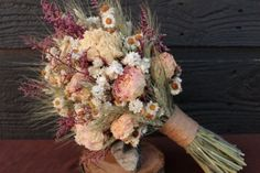 I LOVE dried flowers- what a wonderful bouquet! Rustic Farmhouse Wedding Bouquet, Bridesmaid Bouquet, Shabby Chic, Dried Flower Bouquet, Blush Peony Bouquet with Wheat and Wild Flowers Dried Flower Bouquet, Flower Bouquet Wedding, Dried Flowers, Floral Wedding, Rustic Wedding, Flower Bouquets, Wedding Blush, Chic Wedding, Wheat Wedding