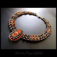 Tudor Splendour -  OOAK Brown, Orange and Bronze Swarovski Beaded Necklace by Triz Designs