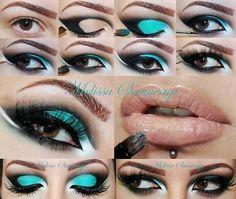Blue black makeup step-by-step