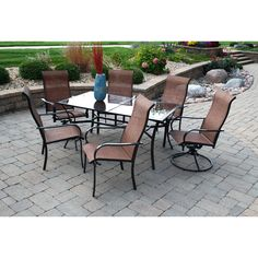 $739 Outdoor Innovation Cambria 7 Piece Dining Set