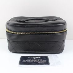 Authentic  Chanel Box  Cosmetic hand Bag  Leather Black 19699