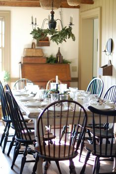 Colonial Modern Dining White Farmhouse Table Black Windsor Chairs