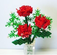 Custom LEGO Bouquet of Red Roses and Baby's Breath by FoldedFancy Flowers Roses Bouquet, Red Rose Bouquet, Rose Wedding Bouquet, Paper Flowers, Red Roses, Floral Bouquets, Lego Flower, Modele Lego, Lego Wedding