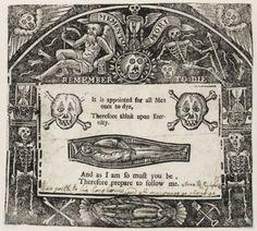 "Morbid Anatomy: ""Memento Mori Remember to Die,"" 1640, Woodcut, Folger Shakespeare Library, Washington DC"